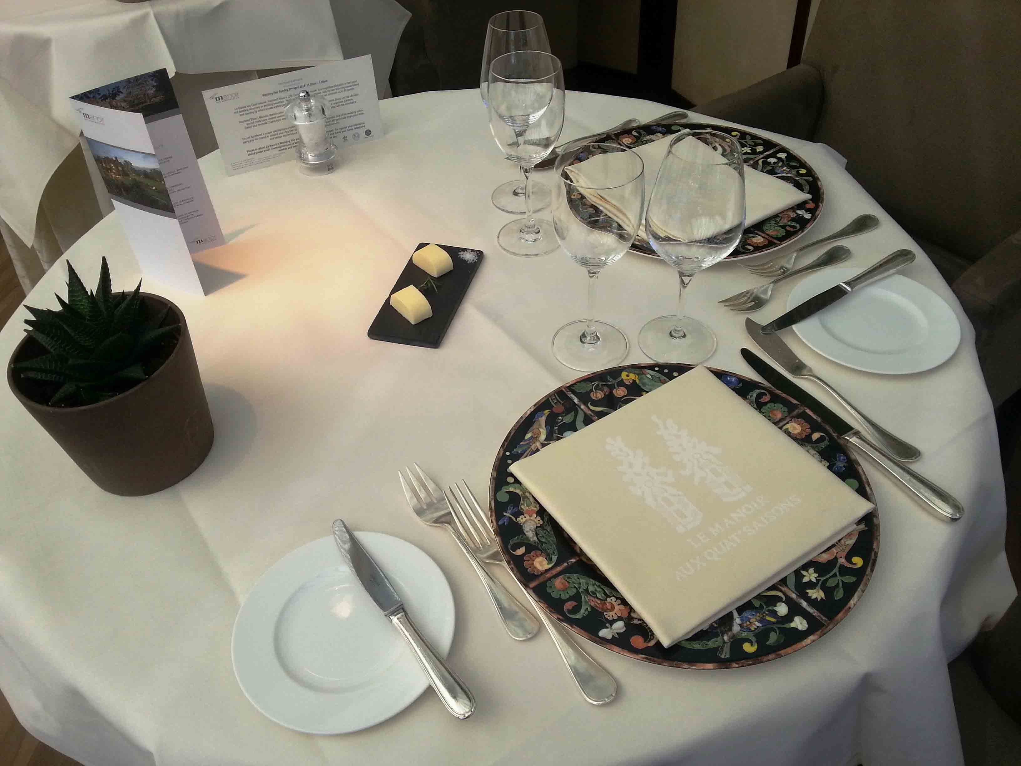 Restaurant table setting for two - An